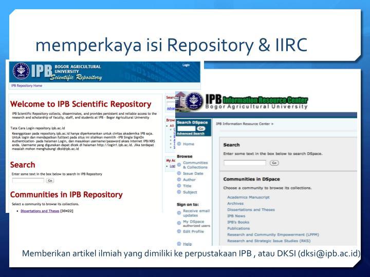 memperkaya isi Repository & IIRC