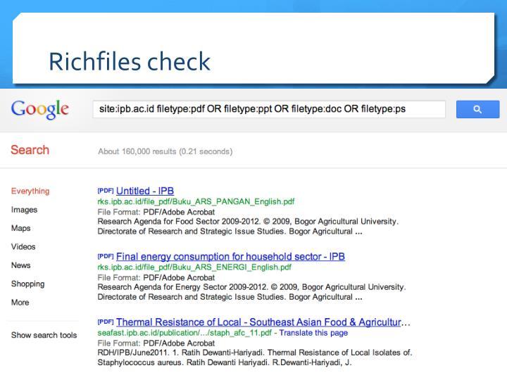 Richfiles check