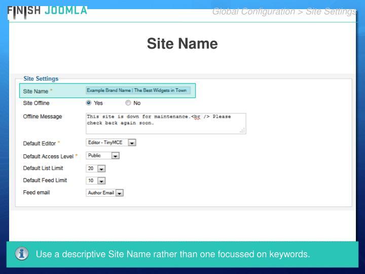 Global Configuration > Site Settings