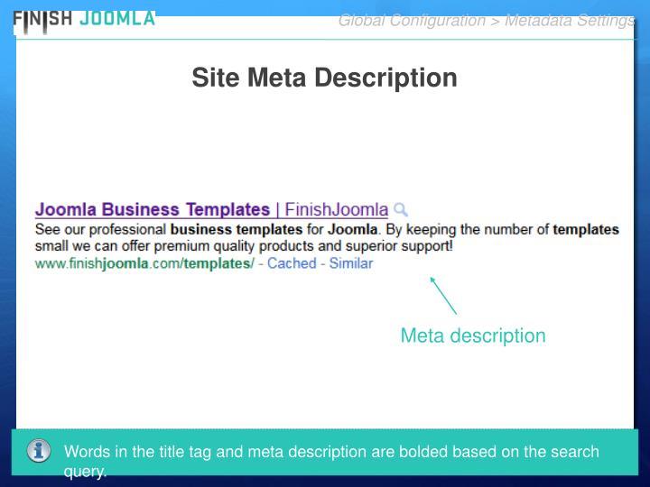 Global Configuration > Metadata Settings