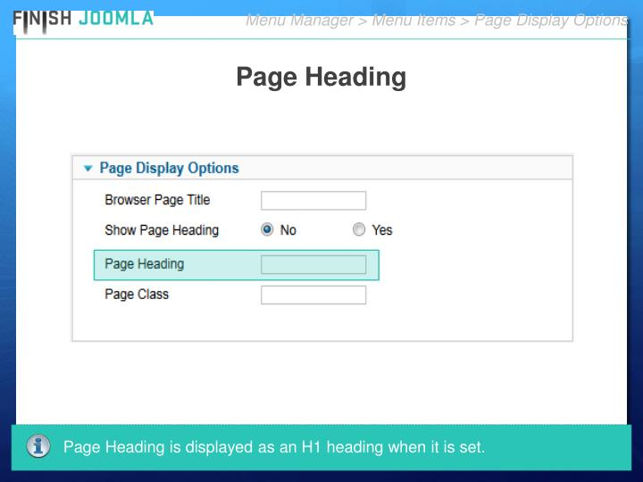 Menu Manager > Menu Items > Page Display Options
