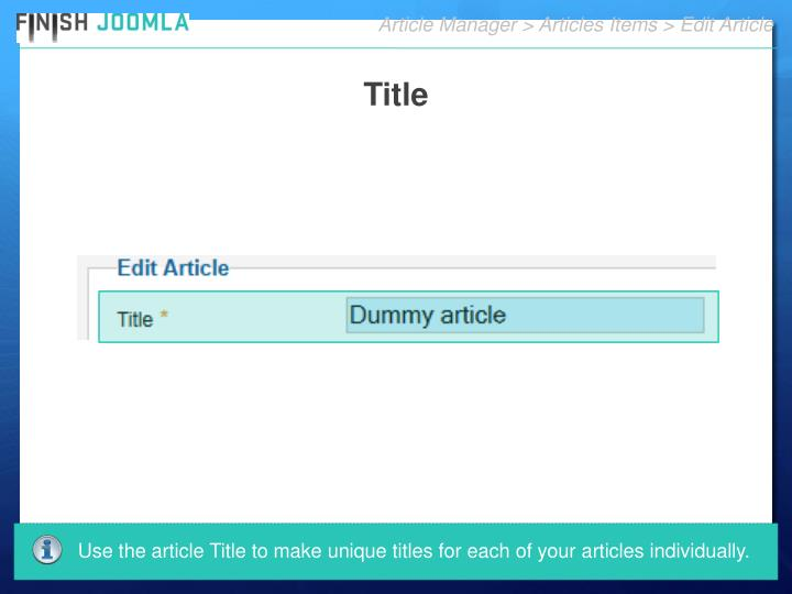 Article Manager > Articles Items > Edit Article