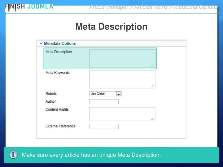 Article Manager > Articles Items > Metadata Options