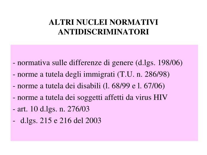 Altri nuclei normativi antidiscriminatori