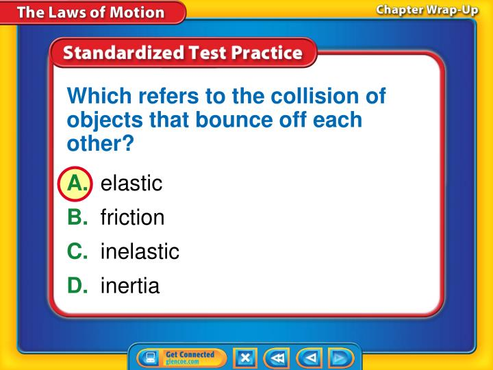 Which refers to the collision of objects that bounce off each other?