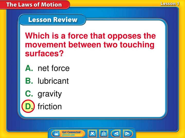 Which is a force that opposes the movement between two touching surfaces?