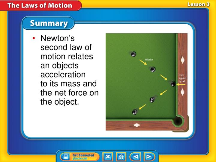 Newton's second law of motion relates an objects acceleration