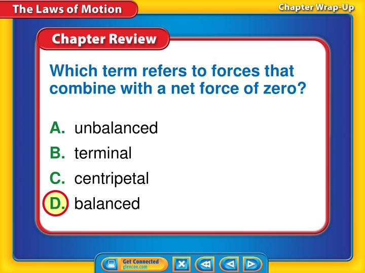 Which term refers to forces that combine with a net force of zero?
