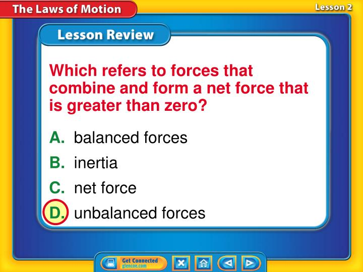 Which refers to forces that combine and form a net force that is greater than zero?