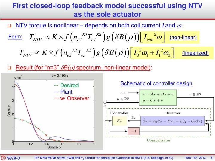 First closed-loop feedback model successful using NTV as the sole actuator