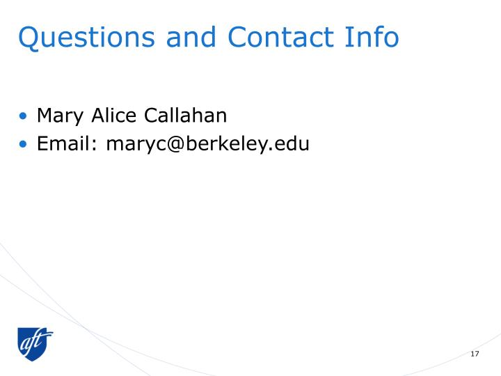 Questions and Contact Info