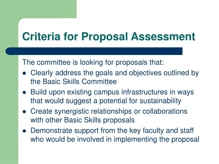 Criteria for Proposal Assessment