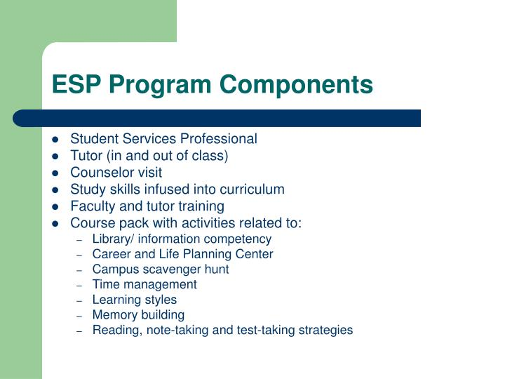 ESP Program Components