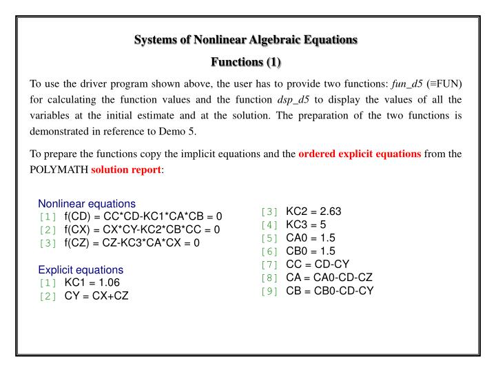 Systems of Nonlinear Algebraic Equations