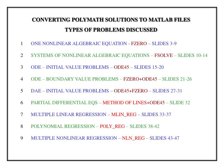 Converting polymath solutions to matlab files introduction