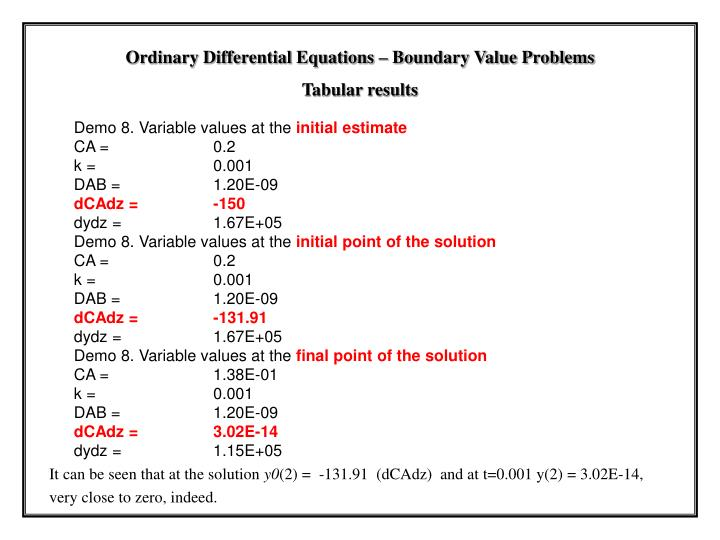 Demo 8. Variable values at the