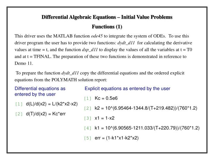 Differential equations as entered by the user