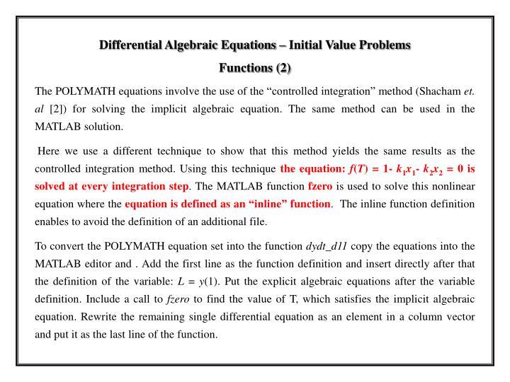 Differential Algebraic Equations – Initial Value Problems