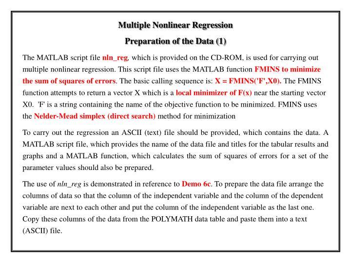 Multiple Nonlinear Regression
