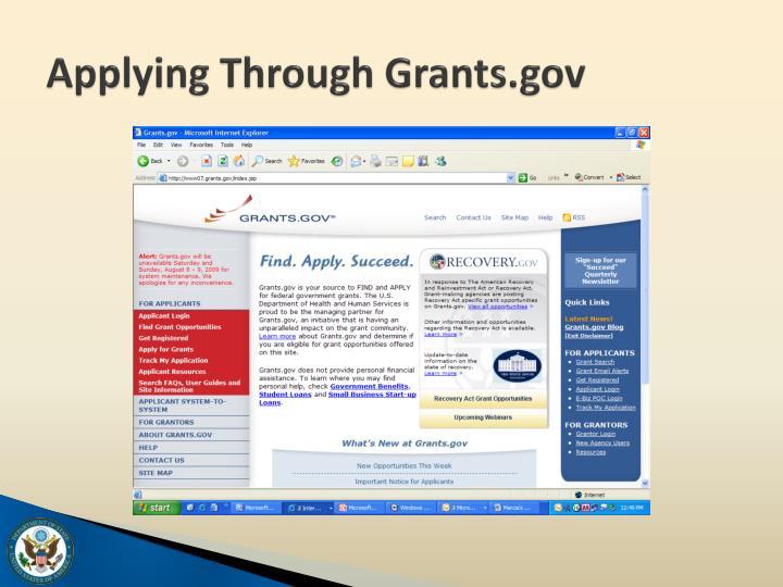 Applying Through Grants.gov