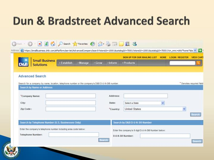 Dun & Bradstreet Advanced Search