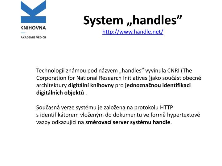 System handles http www handle net