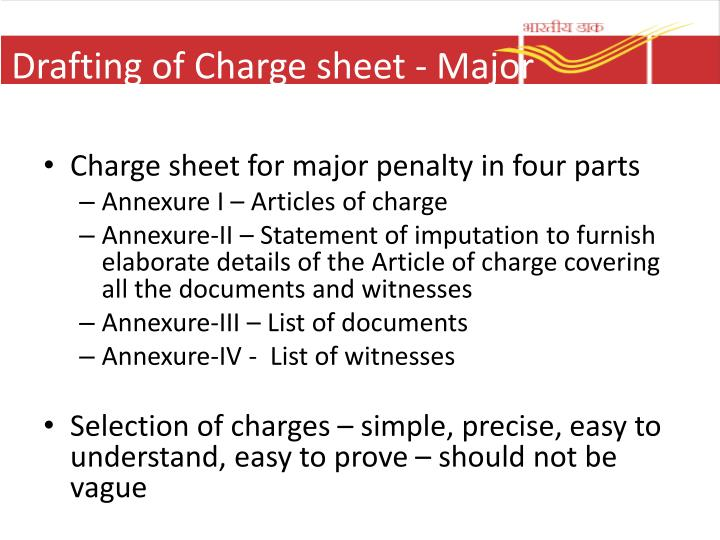 Drafting of Charge sheet - Major