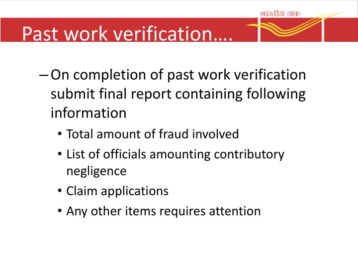 Past work verification….