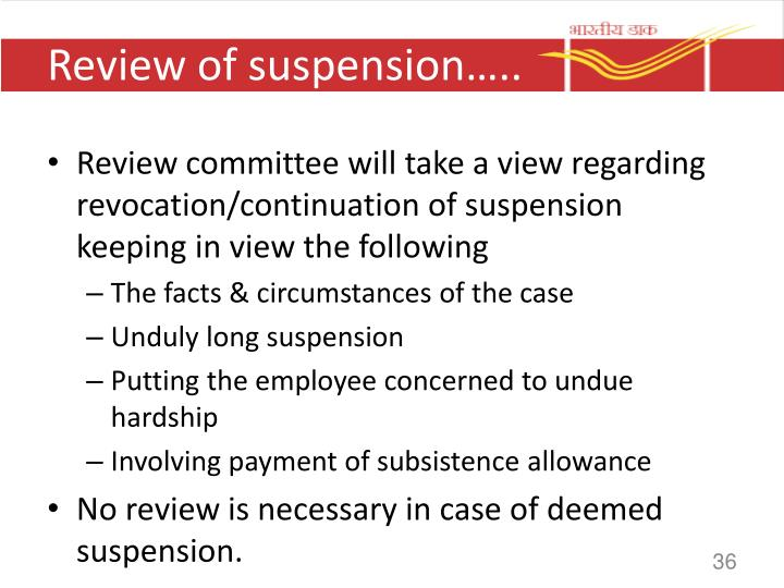 Review of suspension…..