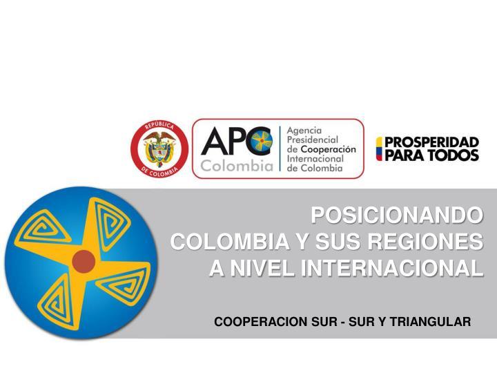 POSICIONANDO                COLOMBIA Y SUS REGIONES        A NIVEL INTERNACIONAL