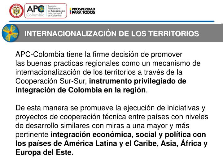 INTERNACIONALIZACIÓN DE LOS TERRITORIOS