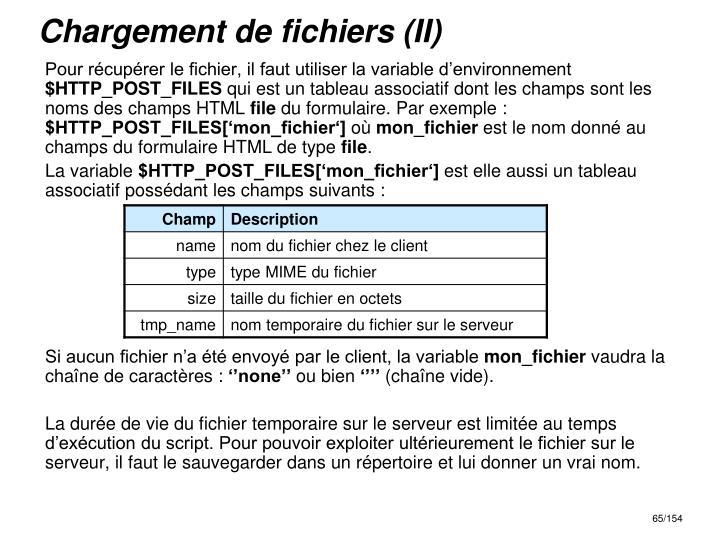 Chargement de fichiers (II)