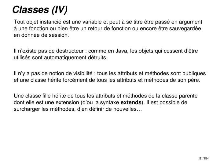 Classes (IV)