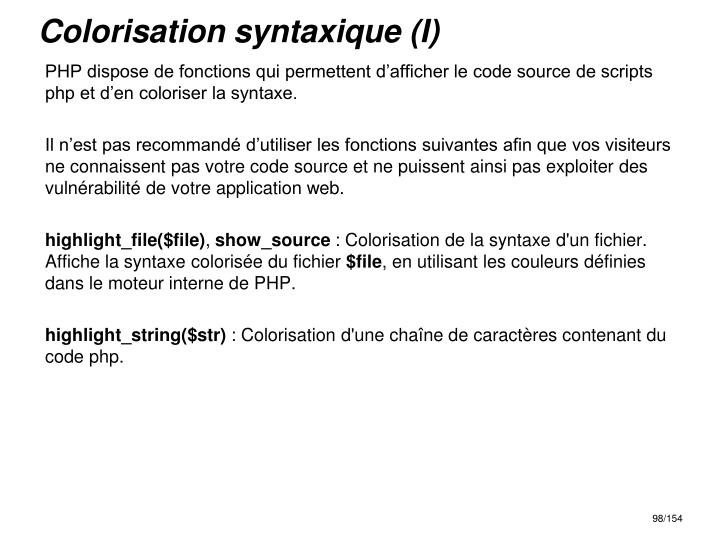 Colorisation syntaxique (I)