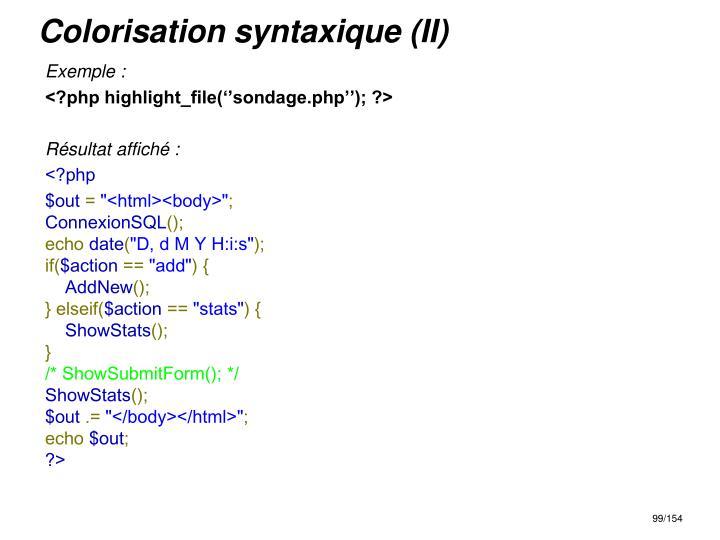 Colorisation syntaxique (II)