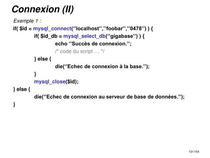Connexion (II)