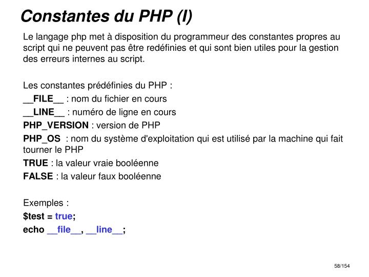 Constantes du PHP (I)