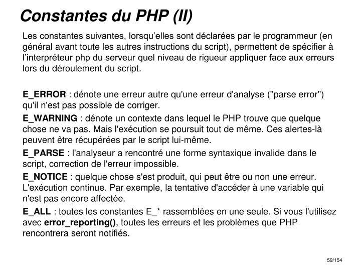 Constantes du PHP (II)