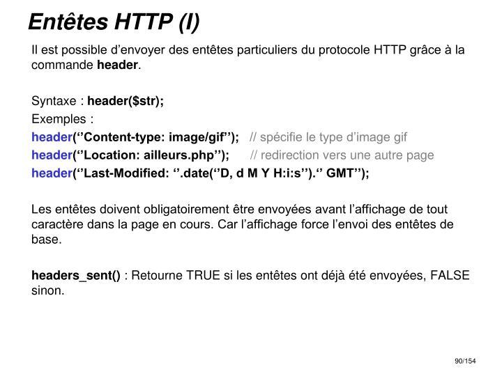 Entêtes HTTP (I)