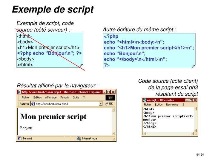 Exemple de script, code source (côté serveur) :