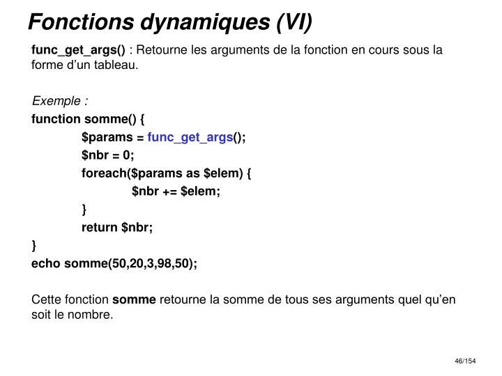 Fonctions dynamiques (VI)