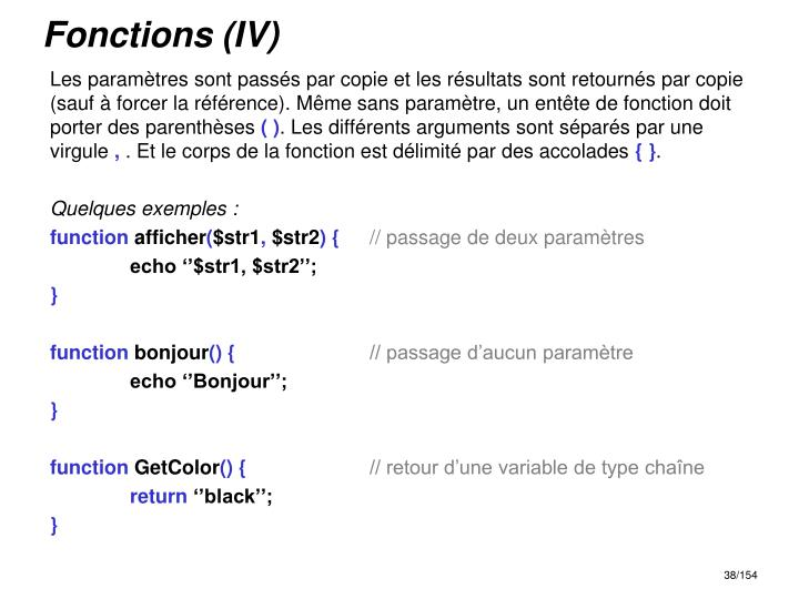 Fonctions (IV)