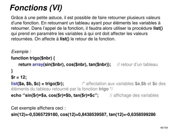 Fonctions (VI)