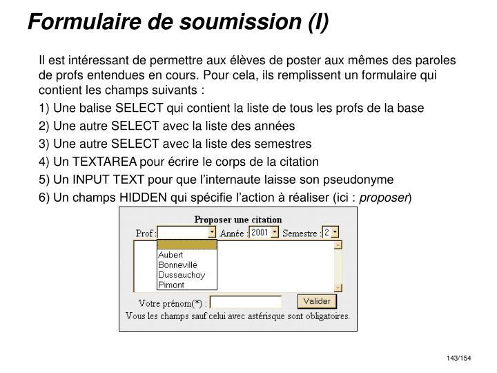 Formulaire de soumission (I)
