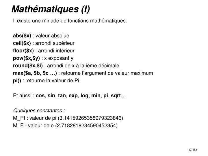 Mathématiques (I)