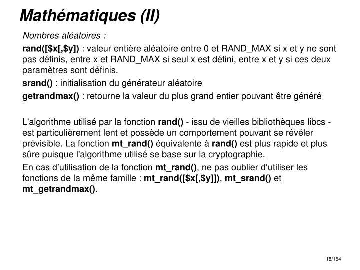 Mathématiques (II)