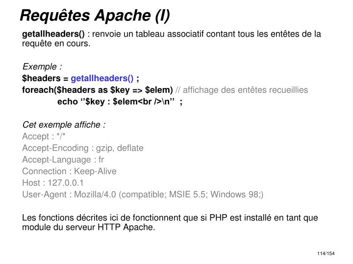 Requêtes Apache (I)