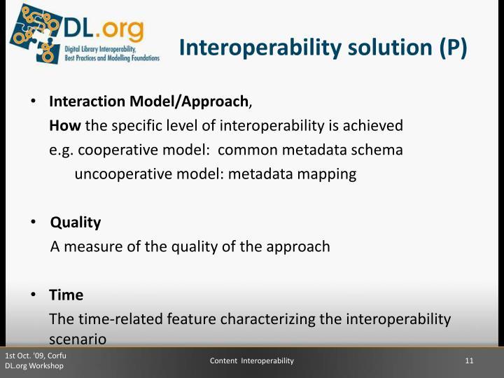 Interoperability solution (P)