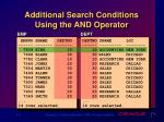 additional search conditions using the and operator