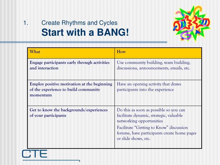 Create Rhythms and Cycles